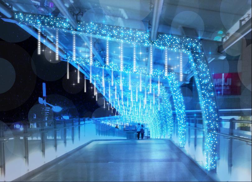 必拍天橋之「冰柱光廊」。圖/新北市政府觀光旅遊局提供