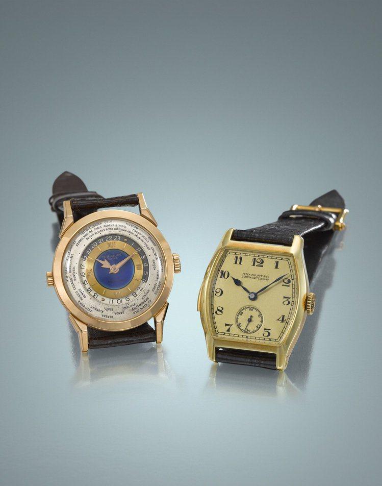 (由左至右)佳士得香港秋拍名表領銜的百達翡麗型號2523玫瑰金雙表冠世界時間腕表...