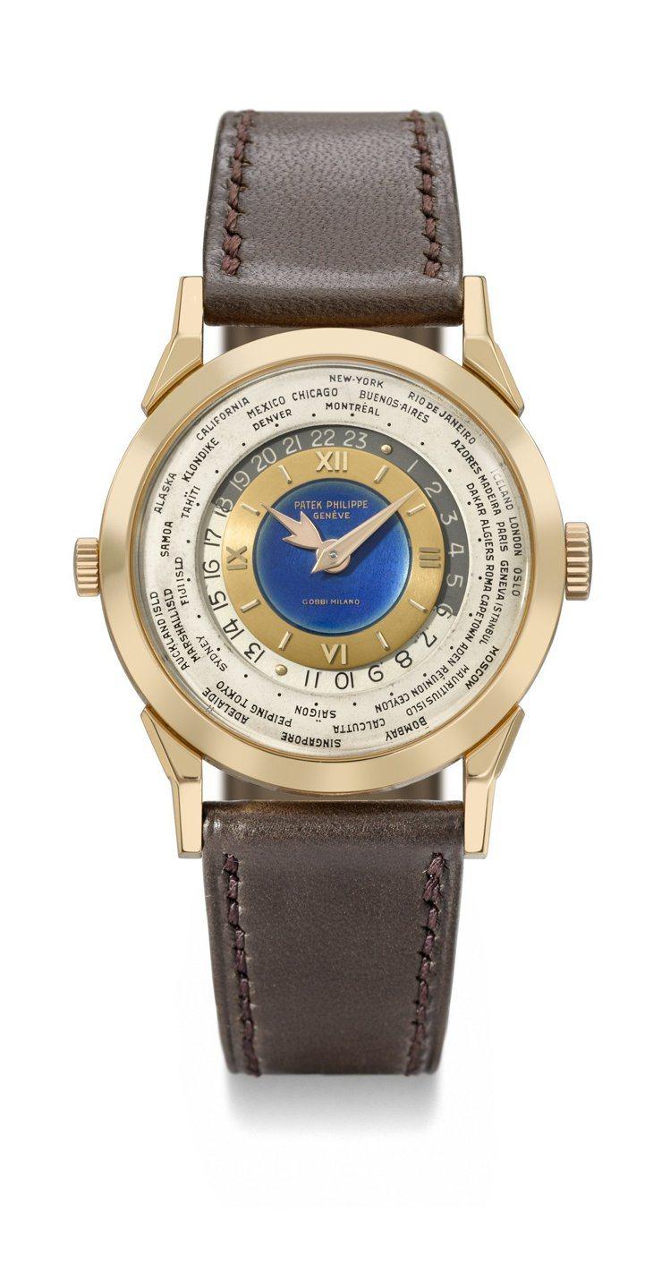 佳士得香港秋拍名表領銜的百達翡麗型號2523玫瑰金雙表冠世界時間腕表,估價約台幣...