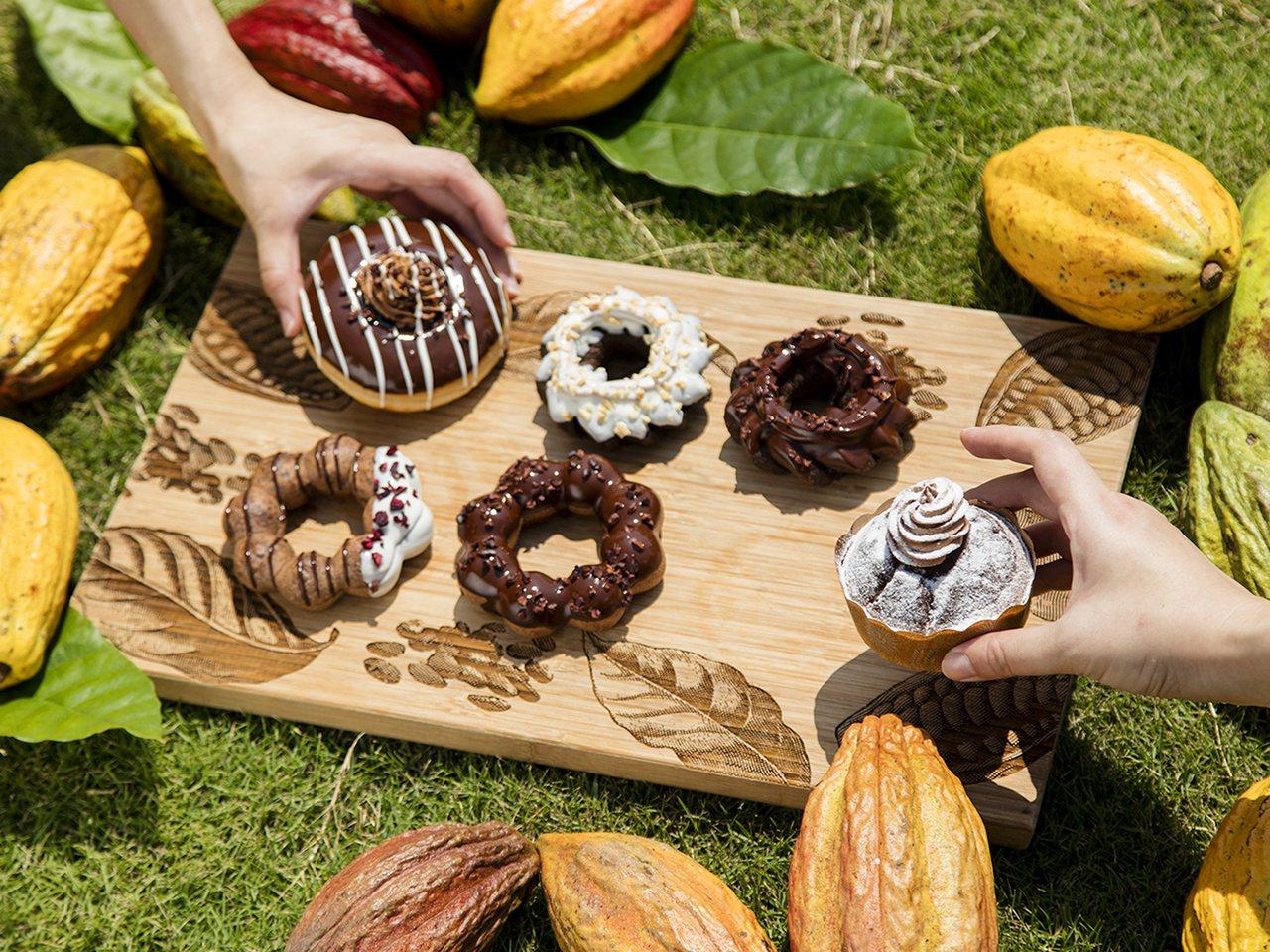 全新6款聯名可可系列甜甜圈。圖/Mister Donut提供