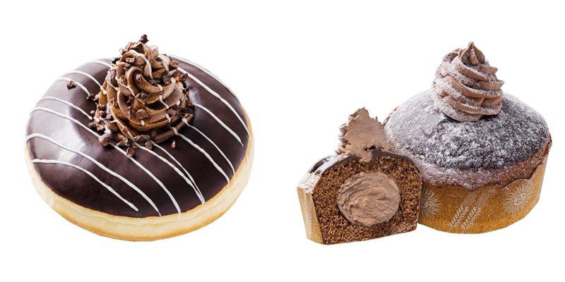 可可火山黃金圈(左)50元、可可瑪芬(右)55元。圖/Mister Donut提...