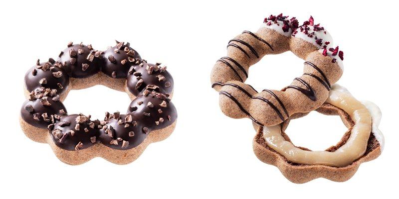 可可碎粒波堤(左)45元、可可荔枝波堤(右)48元。圖/Mister Donut...