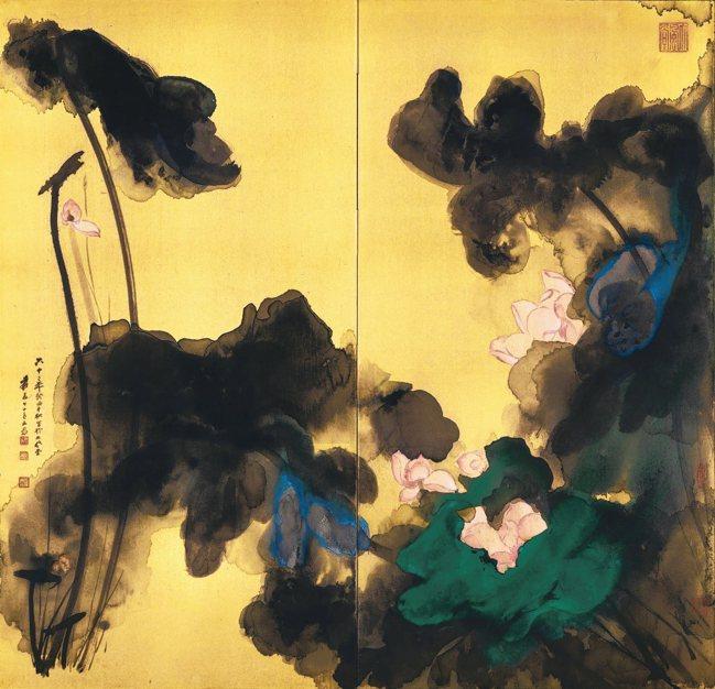 寫於日本製金箋屏風之潑彩荷花《花開十丈影參差》,潑墨潑彩金箋雙摺屏風,1973年...
