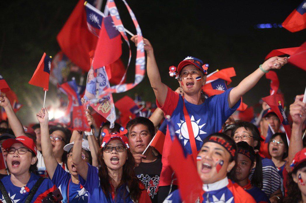 10月19日,韓國瑜在台南舉行造勢晚會。 圖/聯合報系資料照