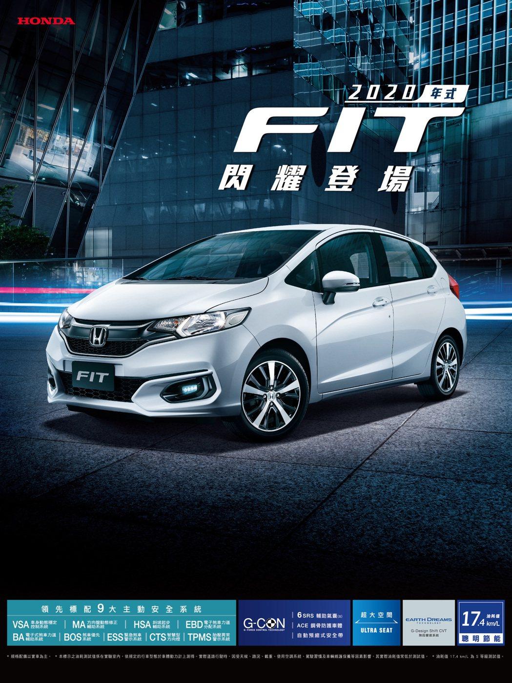 Honda FIT推出「2020全新年式」車款。 圖/台灣本田提供