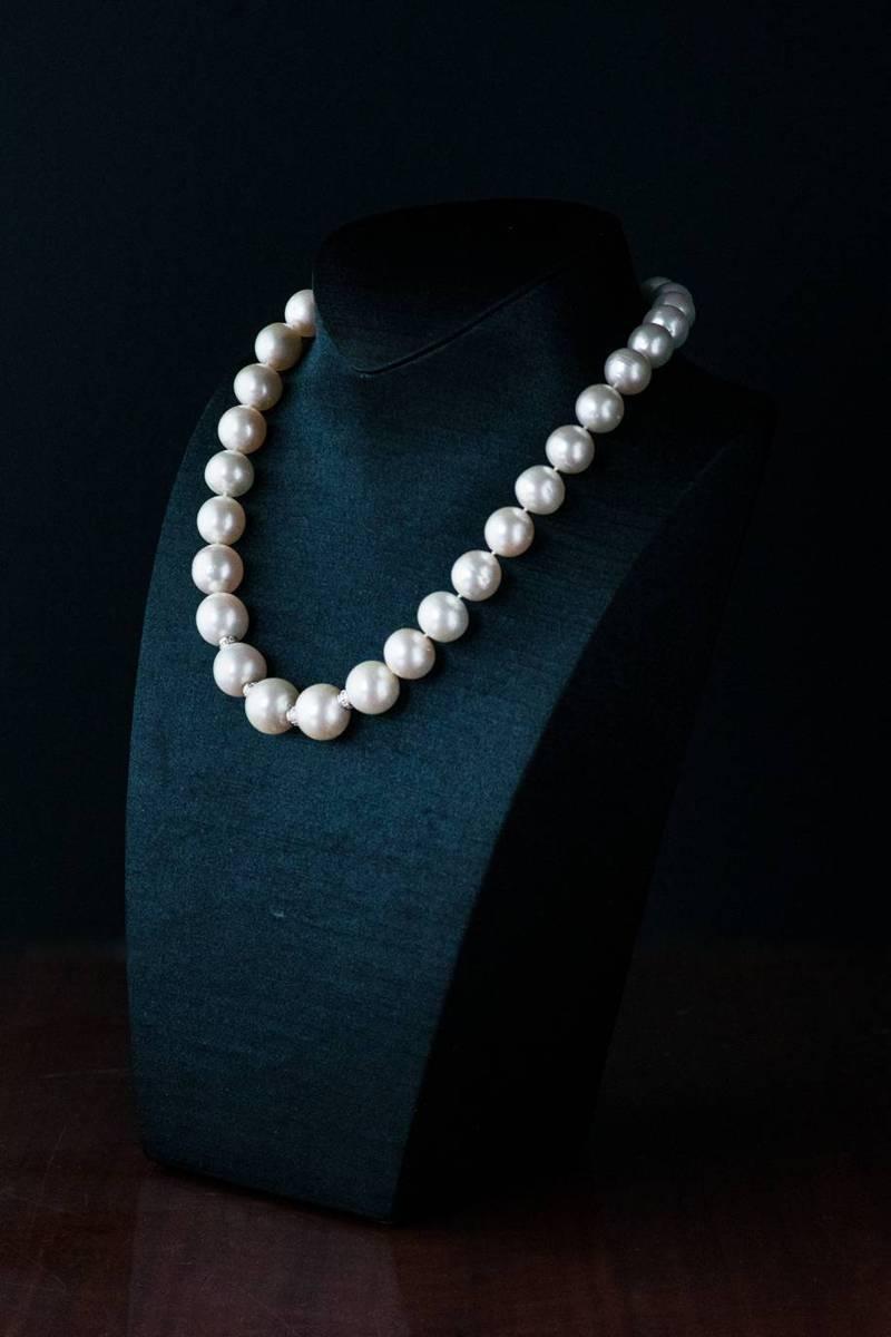 台北分署即將拍賣的南洋珠項鍊。圖/台北分署提供