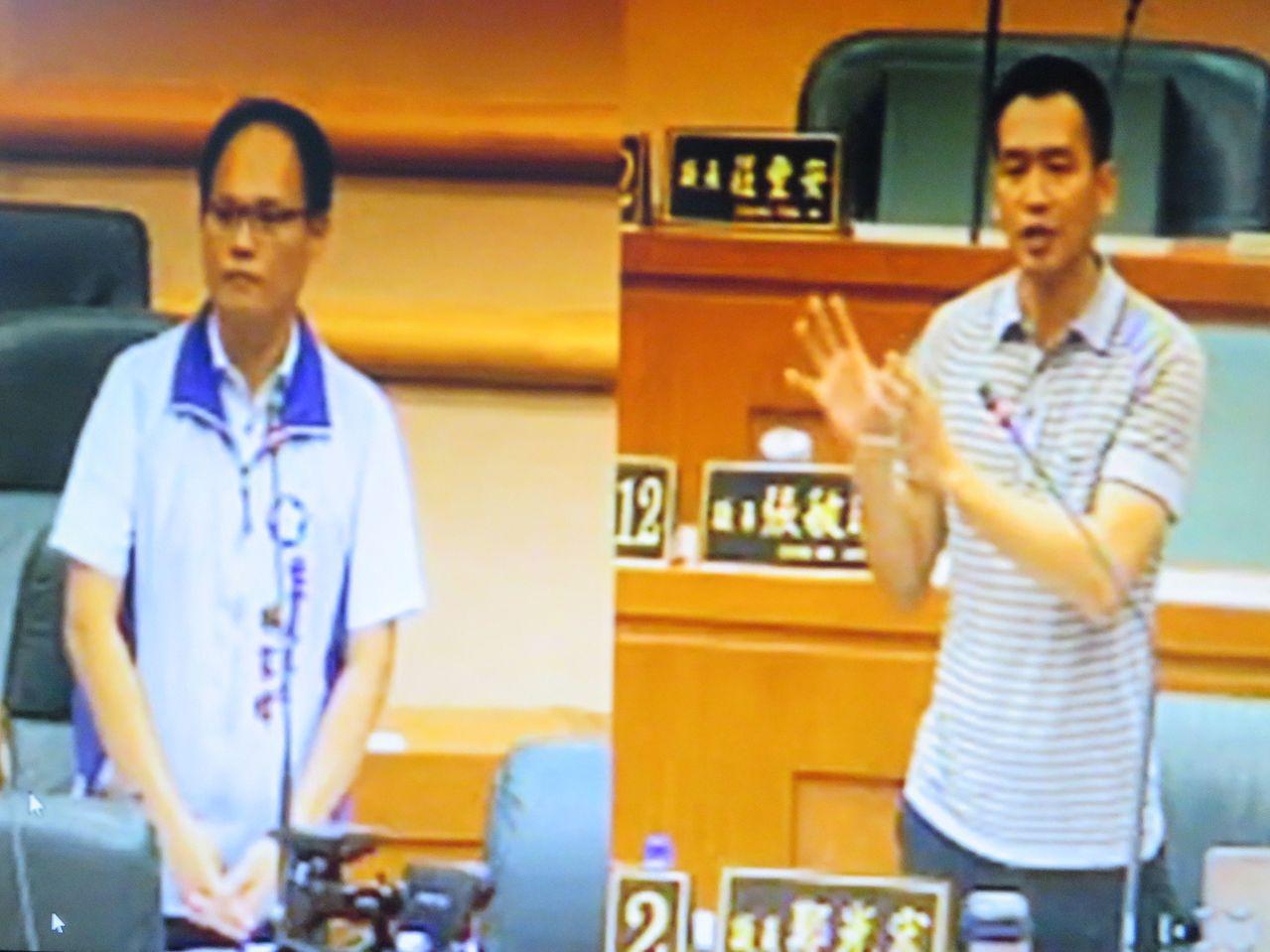 嘉義市議員鄭光宏(右)質詢社會處長林家緯(左)。記者魯永明/翻攝