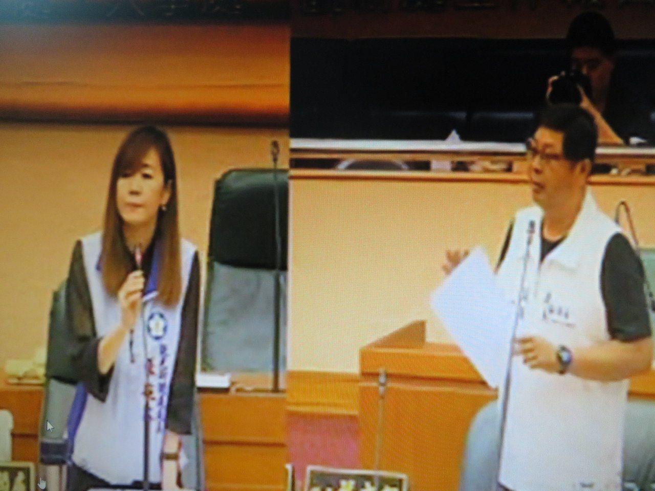 嘉義市議員蔡文旭(右)質詢市府觀光新聞處長張婉芬(左)。記者魯永明/翻攝