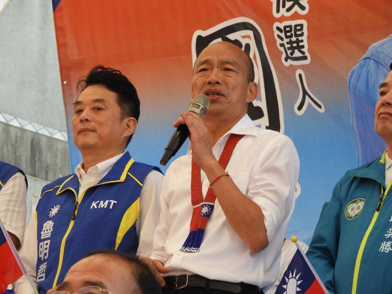 韓國瑜藉世界麵包冠軍吳寶春故事,表示大部分人民不需要大富大貴,只想過一個安穩的日子。記者高宇震/攝影