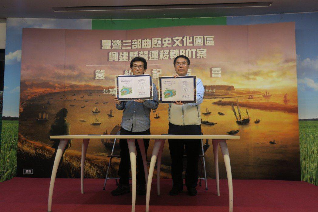 魏德聖(左)和台南市長黃偉哲簽下「豐盛之城」合約。記者蘇詠智/攝影