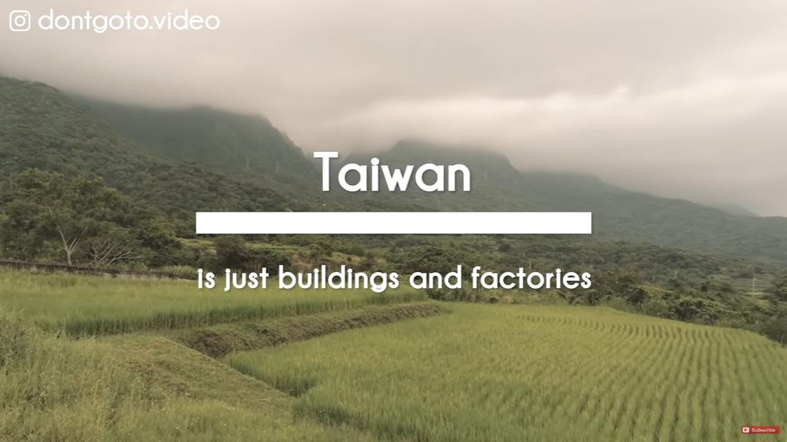 在敘述「台灣只有高樓與工廠」時,以台灣農團、森林、雲海等畫面來達到反串效果。圖/...