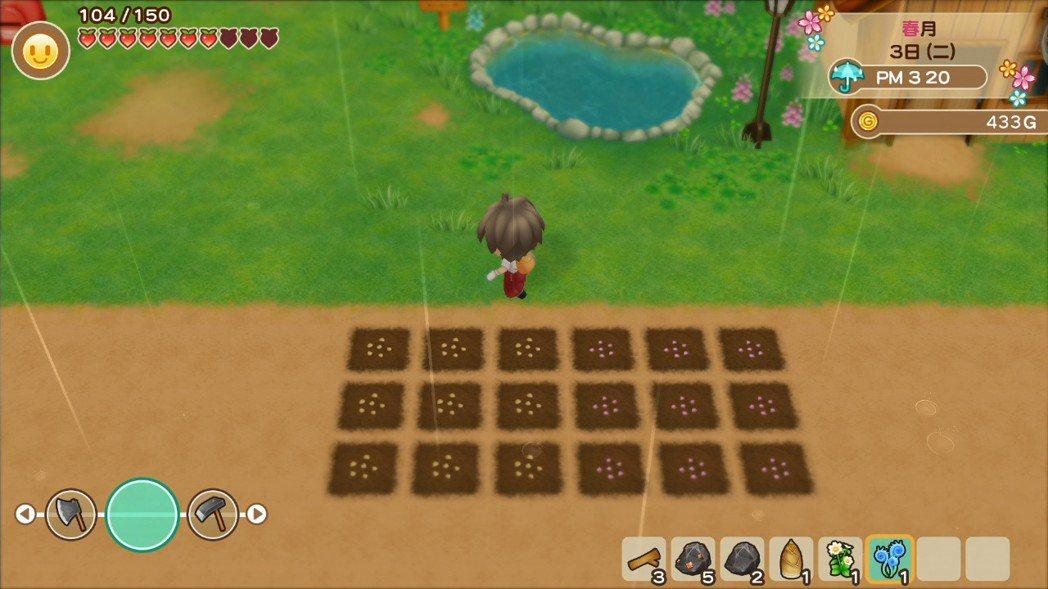 小虎在遊玩之時,有遇到一個狀況,就是在下雨天的時候耕作灑好種子之後,隔天起來發現...