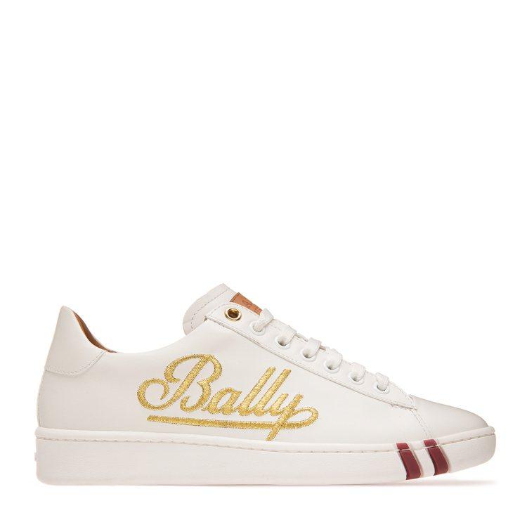 Wilson白色牛皮金色刺繡logo休閒鞋,售價22,000元。圖/BALLY提...