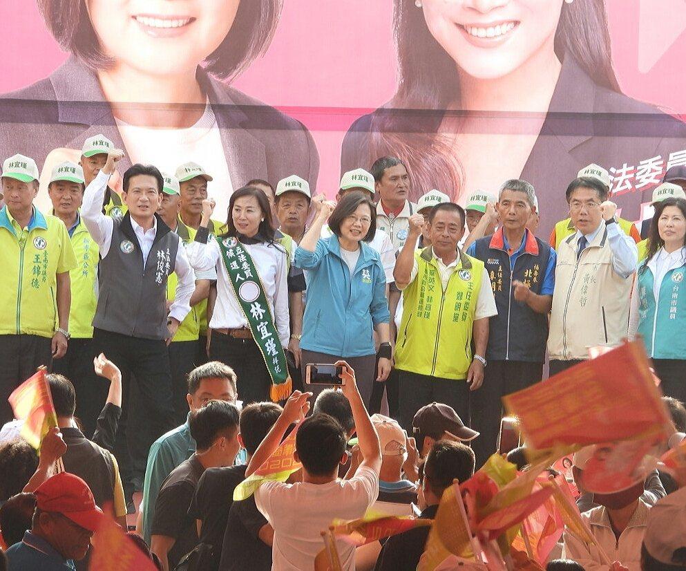 蔡英文為立委參選人林宜瑾打氣。記者周宗禎/攝影