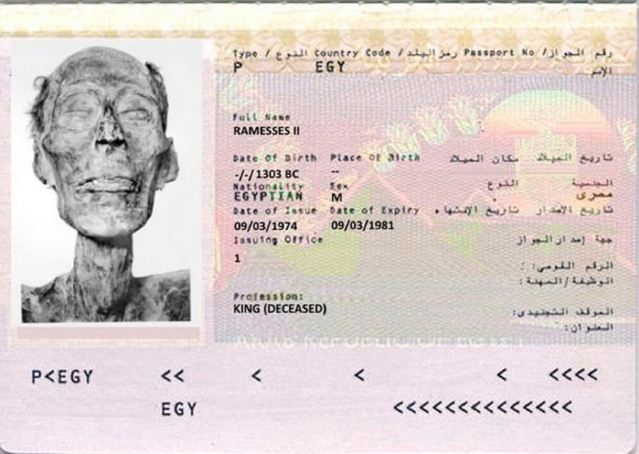 臉書近日瘋傳一張貼有埃及法老拉美西斯二世(Ramses II)大頭照的護照圖片,...