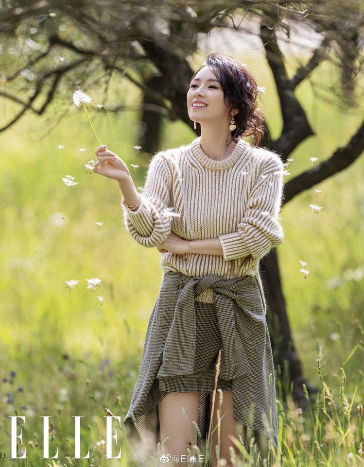 章子怡身穿Chloé的2019秋冬系列。圖/取自ELLE中國版微博