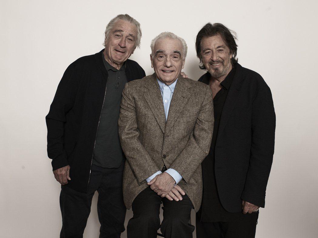勞勃狄尼洛(左起)、馬丁史柯西斯、艾爾帕西諾一起宣傳「愛爾蘭人」。圖/美聯社資料