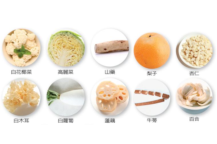 秋季養肺應食滋陰潤肺的白色食物。但飲食仍應均衡,且以當令食材為主,並不是只吃白色...