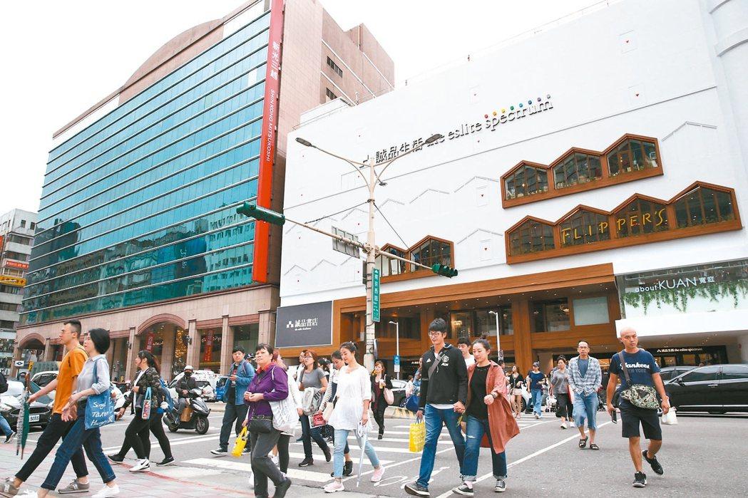 台北市中山區中16個里營業銷售額指標在95以上,堪稱消費力最強行政區。 (本報系...