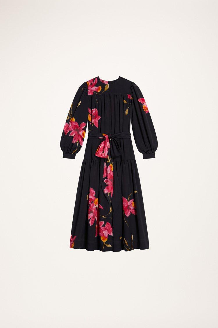 熱帶花卉印花襯黑縐綢洋裝,45,900元。圖/Marc Jacobs提供