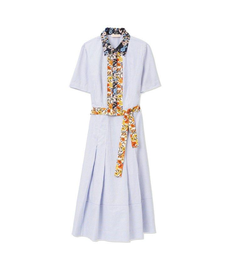 花卉印花領拼接細條紋襯衫洋裝,17,900元。圖/Tory Burch提供