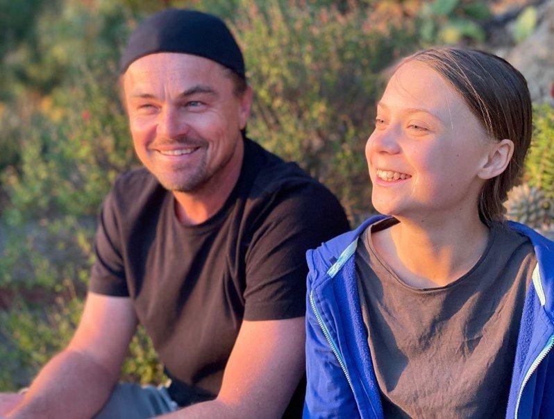 李奧納多與瑞典環保少女桑柏格合照。圖/取自李奧納多IG