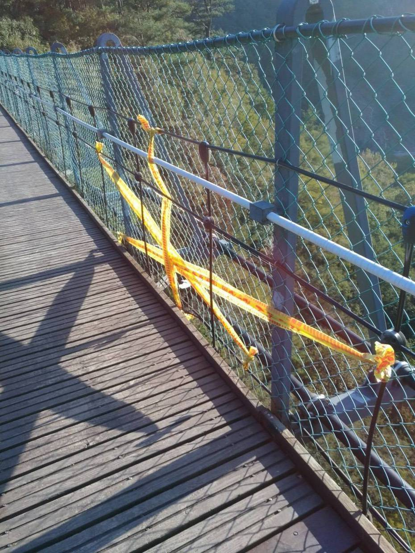 新北市一歲半許姓男童疑因重心不穩朝圍網倒去,造成圍網與橋面間縫隙變大,因此踩空墜落,其母見狀要拉住卻來不及。圖/南投林管處提供