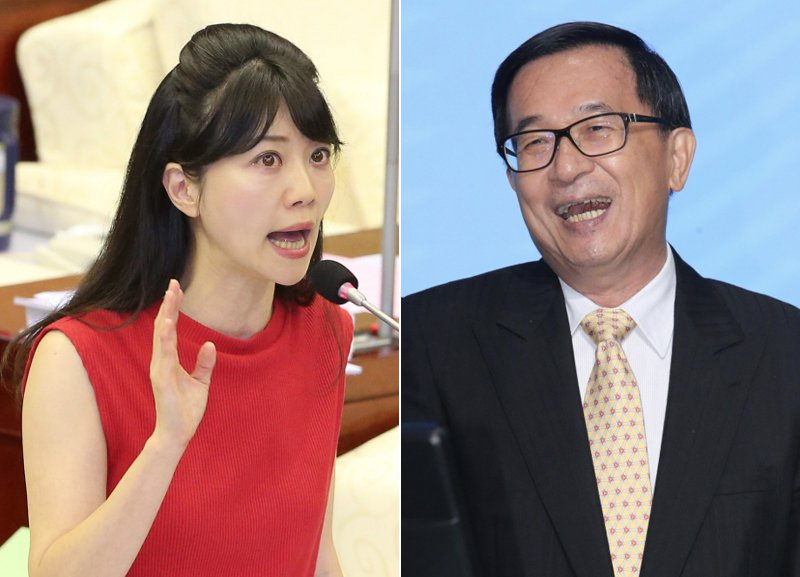 高嘉瑜(左)最近在趙少康主持的電視政論節目評論前總統陳水扁(右)。 圖/聯合報系資料照片