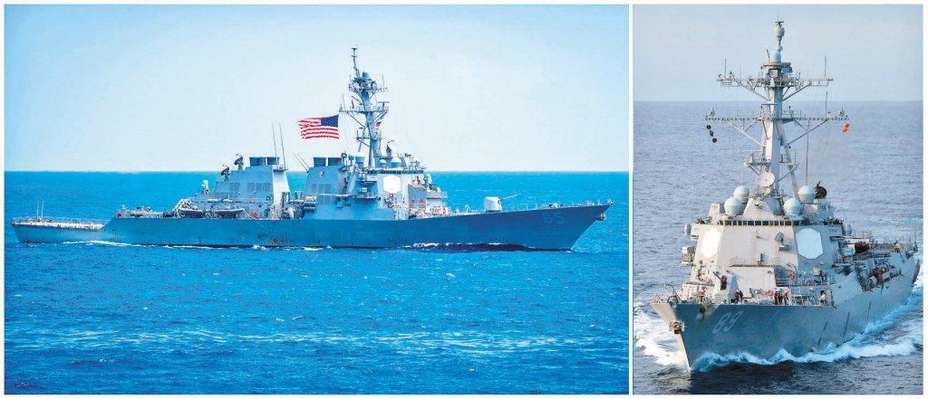 今年七月,美國兩艘伯克級驅逐艦「班福特號」(USS Benfold)(左),「馬...