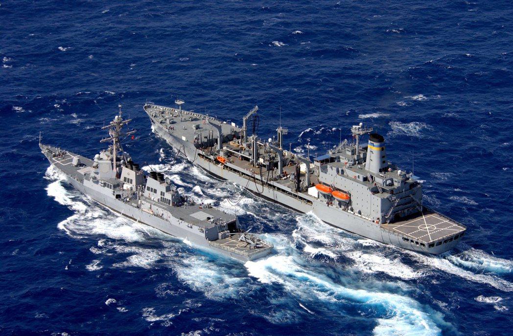 美國海軍載油艦沛可斯號(右),與驅逐艦迪卡托號。圖╱美國海軍檔案照