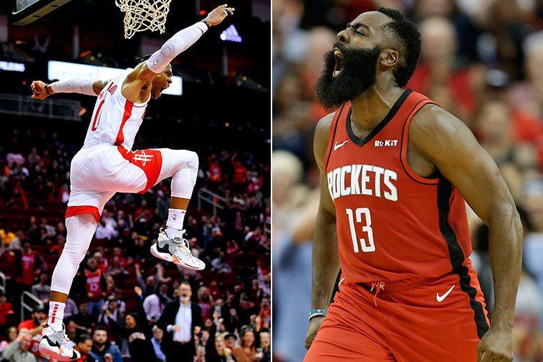 火箭全新的「球霸連線」組合在新球季備受矚目,開季前6戰的結果卻是樂了衛少(左)、...