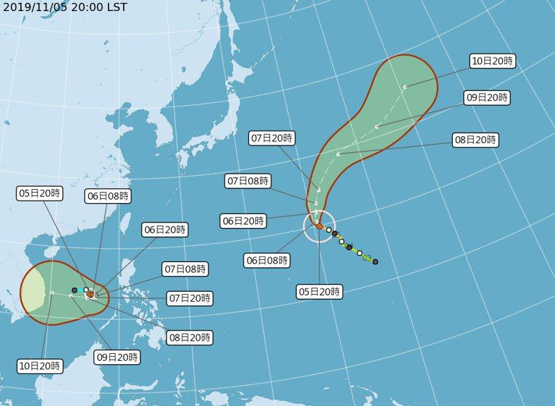 位於南沙島海面的熱帶性低氣壓今天晚間增強為颱風娜克莉,對台灣無直接影響。圖/取自氣象局