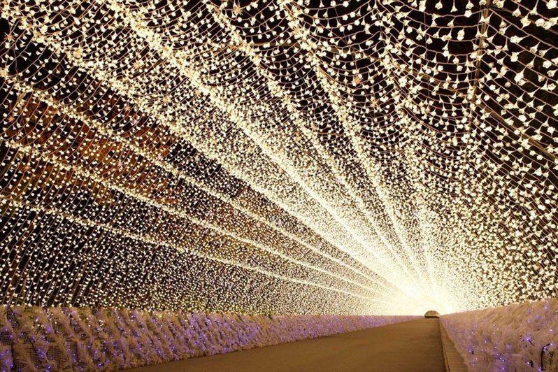 知名景點「光之走廊」長約200公尺,隨音樂變換炫彩光芒。圖/三井提供