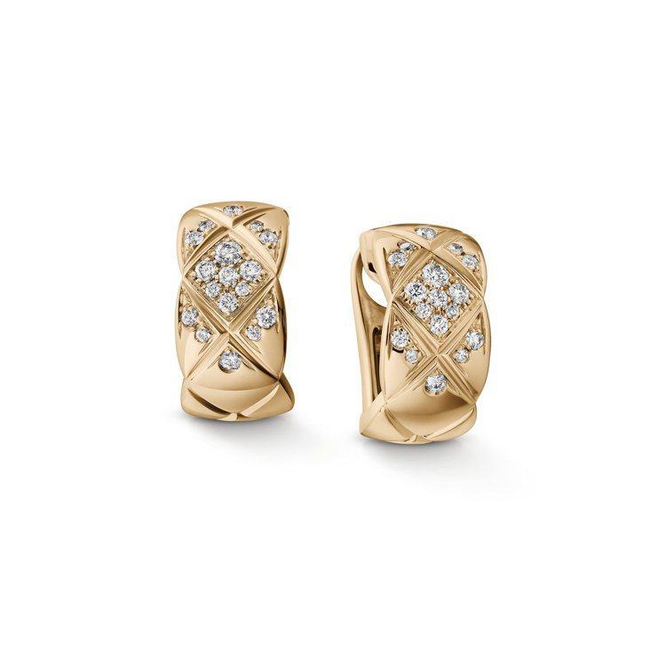 香奈兒新款Coco Crush高級珠寶系列耳環,18K Beige米色金鑲嵌鑽石...