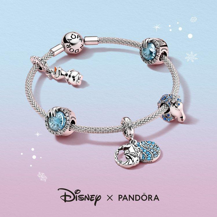 Pandora與「冰雪奇緣2」推出聯名珠寶。圖/Pandora提供