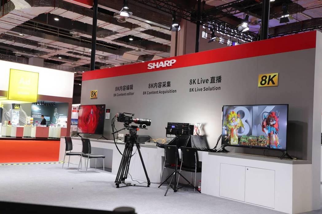 鴻海集團投資的夏普今日在中國大陸進口博覽展出8K系列產品包含攝影機 8C-B60...