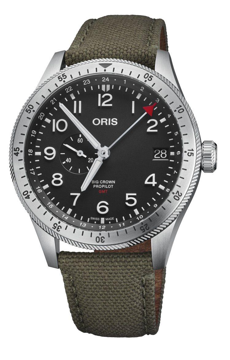 ORIS Big Crown ProPilot雙時區腕表,不鏽鋼表殼搭配Vent...