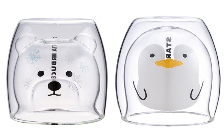 冬季北極熊雙層玻璃杯,售價600元;企鵝雙層玻璃杯,售價550元。圖/星巴克提供