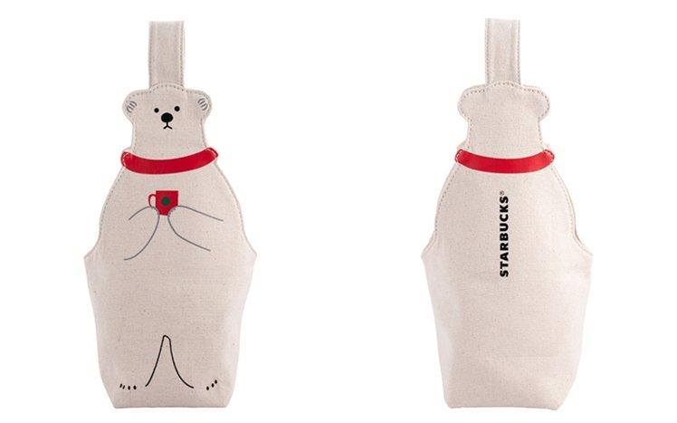 北極熊造型隨行杯袋,售價300元。圖/星巴克提供