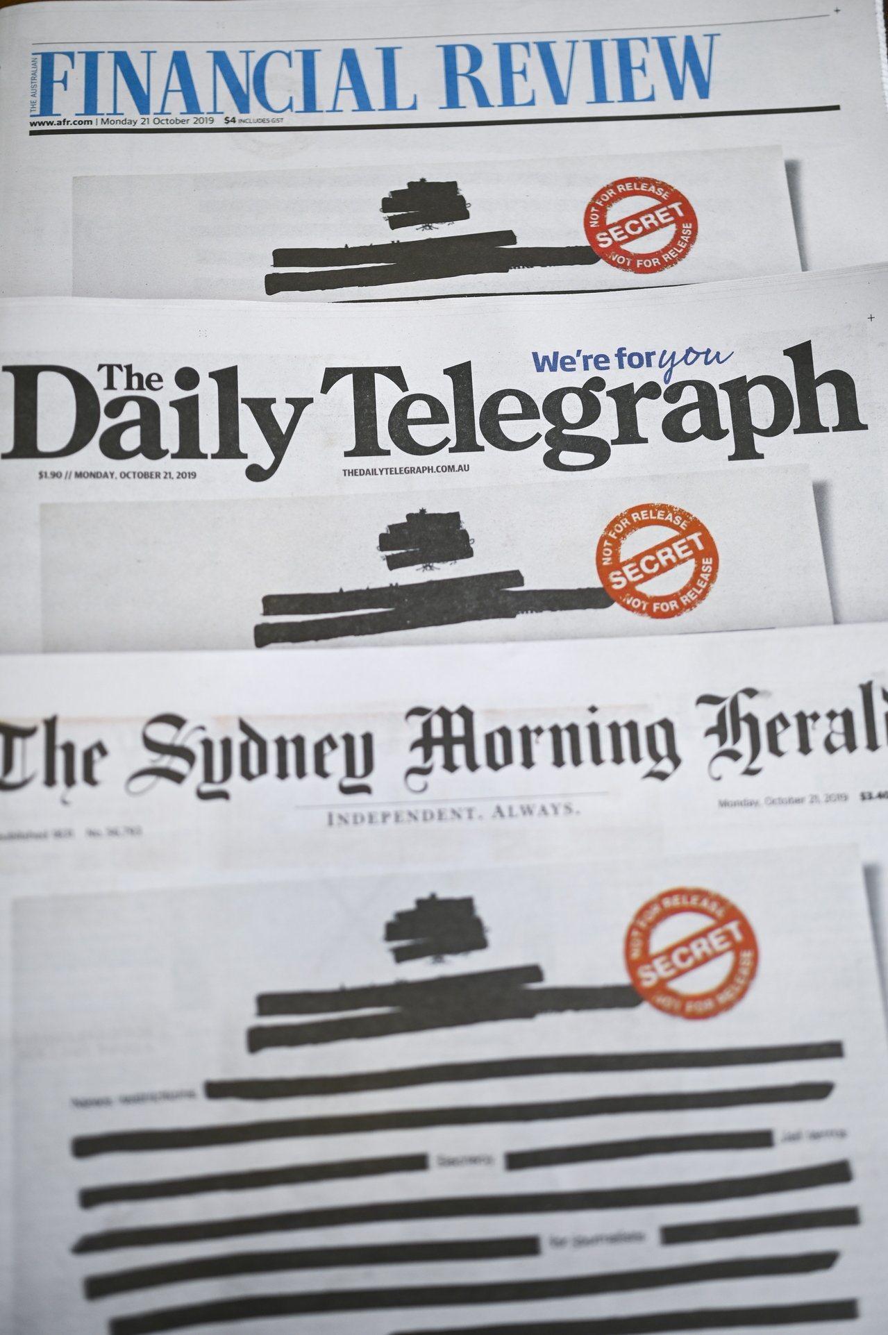 澳洲各主要報紙今天都把頭版文字塗黑遮去訊息,抗議政府限制新聞自由。 歐新社