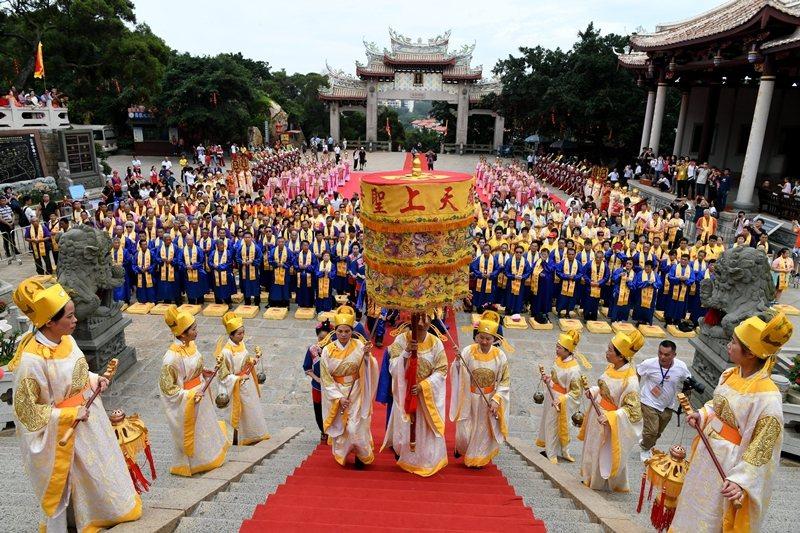 2019年6月,台灣媽祖宮廟代表赴福建湄洲媽祖祖廟朝聖。 圖/中新社
