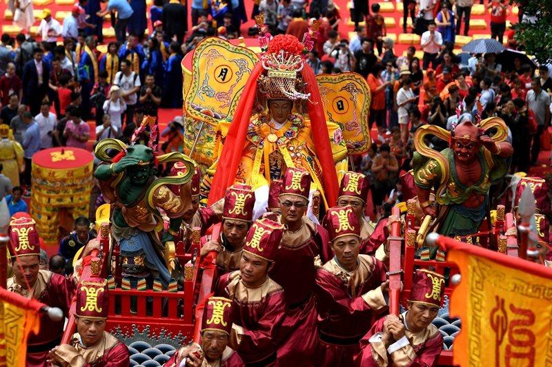 2019年5月,台灣媽祖宮廟代表赴福建湄洲媽祖祖廟朝聖。 圖/中新社