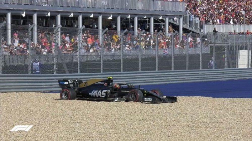 主場的Hass車隊不僅表現不佳,最後一圈Magnussen還衝出賽道。 摘自F1