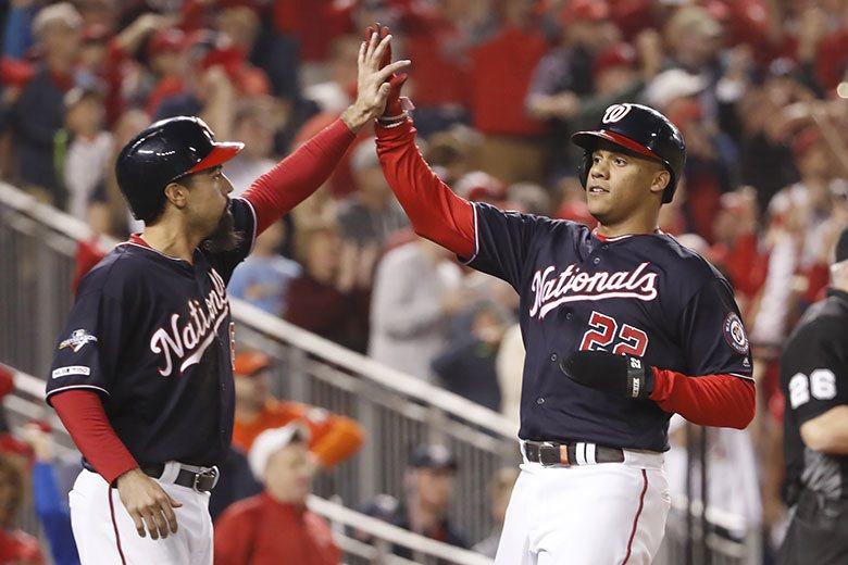 國民強打三壘手瑞登(左)和外野手索托(右)都是自家培養出來的好手,在今年的季後賽...