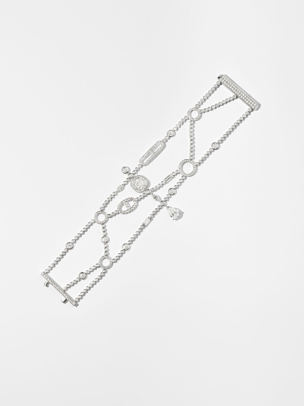 Hermès Petit Jeté白K金鑲白鑽手環,919萬9,300元。圖/愛...