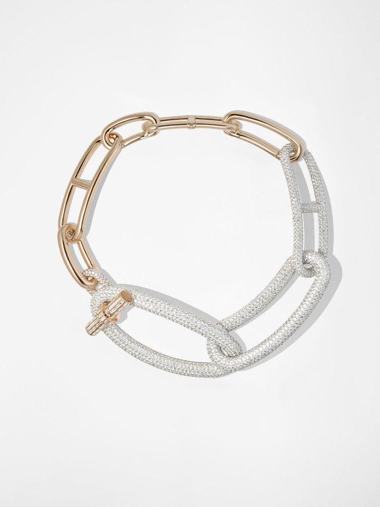 本次展中單價最高的展品-Adage Hermès玫瑰金與白K金鑲白鑽項鍊,300...