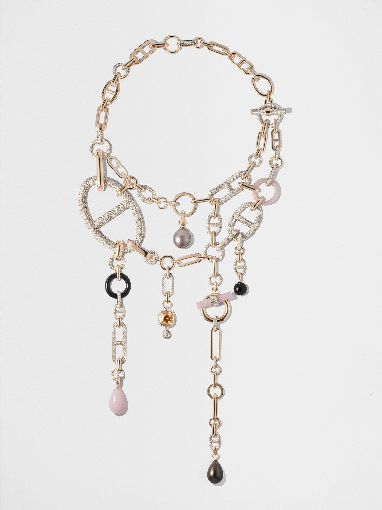 Hermès Grand Jeté玫瑰金鑲珍珠、粉紅蛋白石、墨玉、橘黃色藍寶石與...