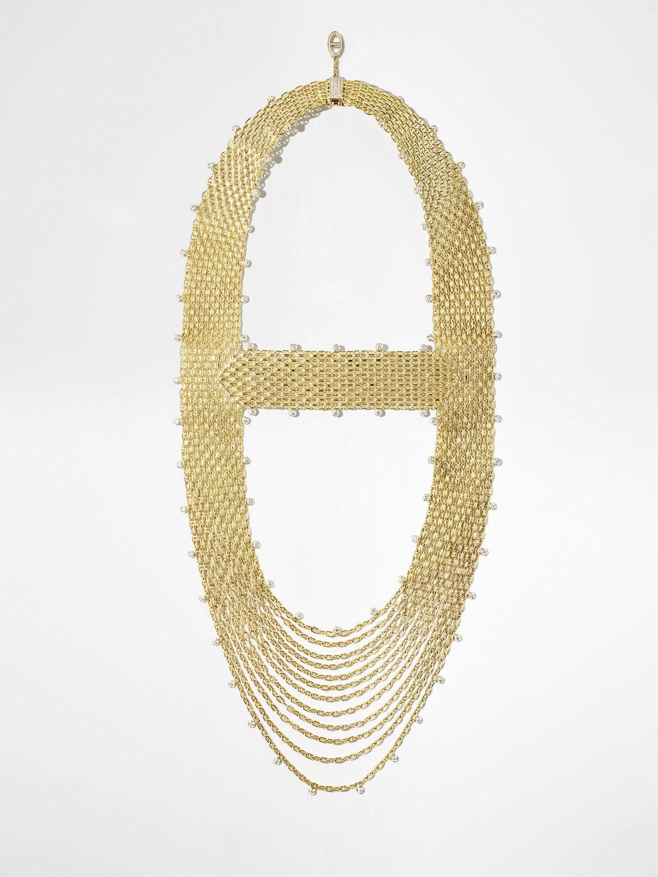 Hermès Voltige黃K金鑲白鑽項鍊,601萬4,900元。圖/愛馬仕提...