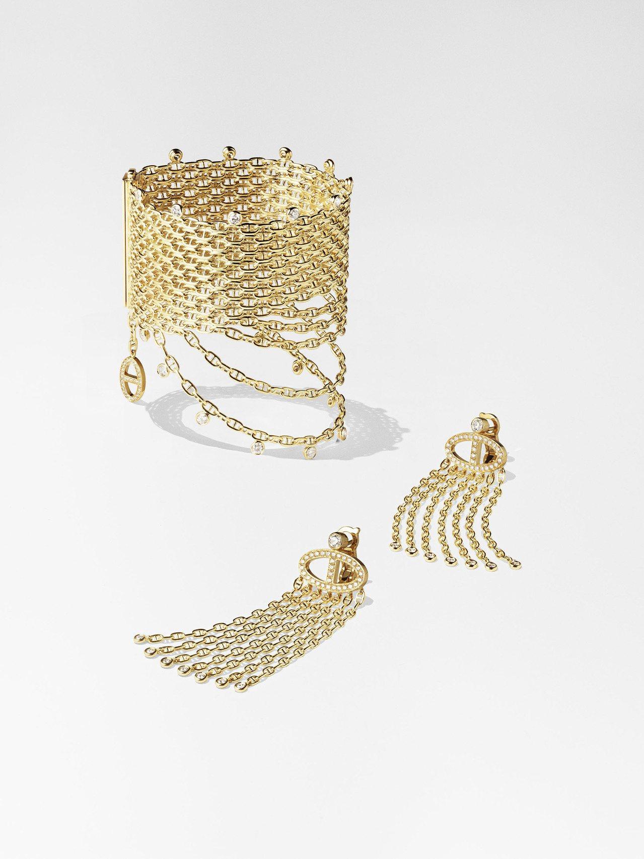 Hermès Voltige黃K金鑲白鑽手環212萬2,900元,多鏈條耳環77...