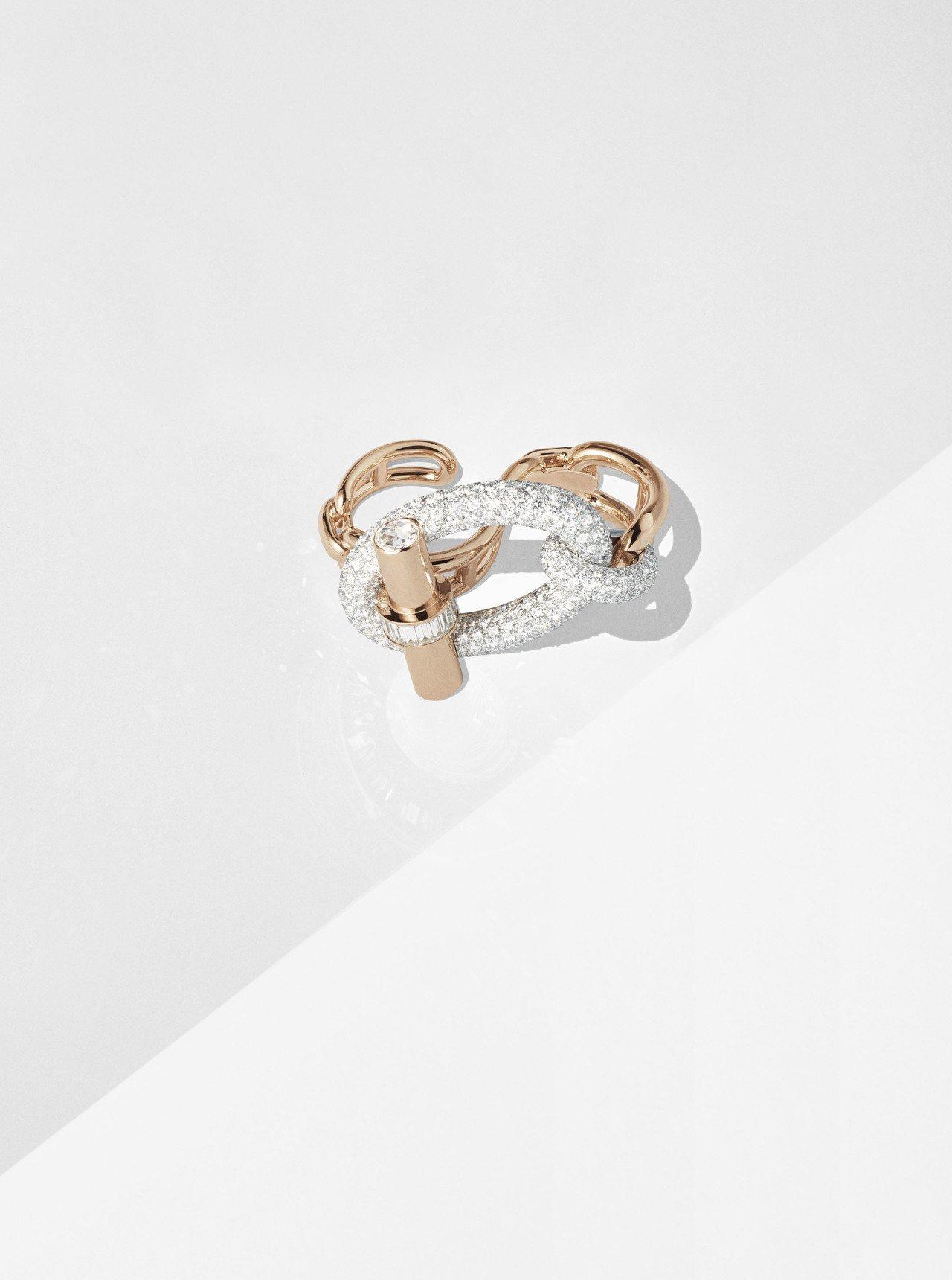 Adage Hermès玫瑰金與白K金鑲白鑽雙指戒指,417萬5,100元。圖/...